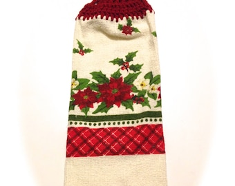 Poinsettia Hand Towel With Claret Crocheted Top