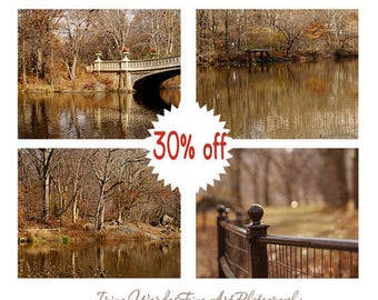 Central Park art New York City prints set of 4, Autumn photography, bronze rustic New York decor, nyc prints Bow Bridge lake fence pictures