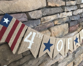 4th of July banner, 4th of July burlap banner, July 4th banner, patriotic decor, flag burlap banner, americana banner, stars banner