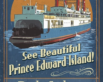 Prince Edward Island - Ferry Vintage Sign (Art Prints available in multiple sizes)