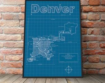 Denver Map / Original Artwork / Denver Map Art / Wall Art / Graduation Gift / Street Map / Colorado Map / Gift for Him