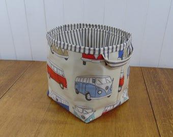 Reduced VW Campervan Print Blue  Ex Large Storage Basket Bin- ticking lining