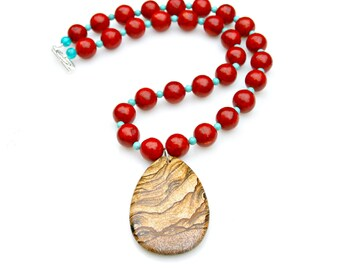 Japer Necklace, Red Coral Necklace, STATEMENT Necklace, Turquoise Necklace, Pendant Necklace, Southwest Necklace by Mei Faith
