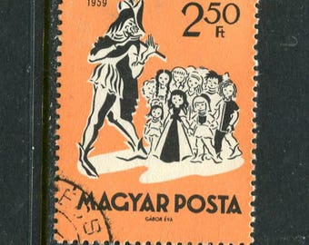 Pied Piper Fairy Tail Themed Stamp Issued in Hungary Used/Vintage Stamp Pied Piper