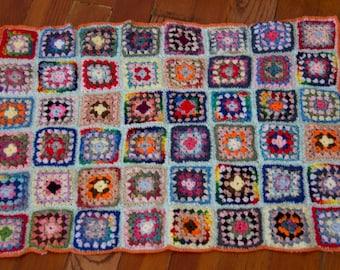 Handmade Granny Square Crochet Baby Blanket Orange Trim 1003