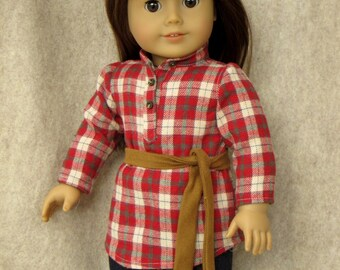 "Flannel Tunic for 18"" dolls"