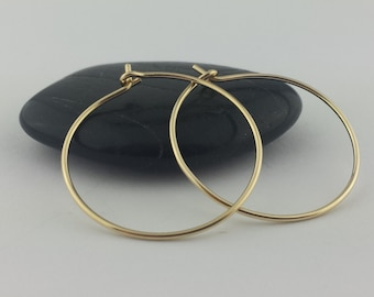 Thin 18k Solid Gold Hoop Earrings, 20 Gauge, Solid Gold Hoops, 18k Gold Hoop, Hammered Gold Earrings, Round Hoops, Mothers Day Gift Jewelry