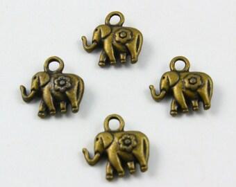 50Pcs Antique Brass elephant Charm elephant Pendant 12x8mm (PND525)