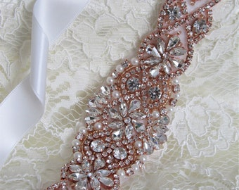 Rose Gold Rhinestone Bridal Sash,Wedding sash,Bridal Accessories,Bridal Belt,Bridal Applique #107rose gold