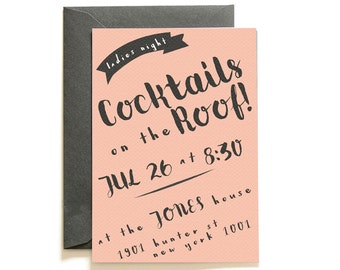 Mad (Wo)Men Pink Cocktail Invites | Printable Invitation Template | INSTANT DOWNLOAD