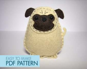 Easy to sew felt PDF pattern. DIY Harold the Pug, finger puppet and ornament.
