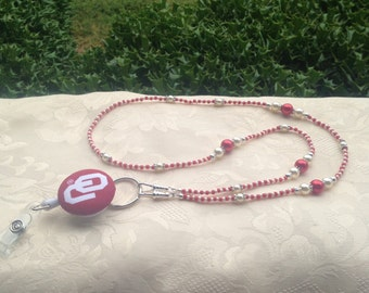 Oklahoma Sooners ID Badge Lanyard Red and White Beaded ID Badge Holder