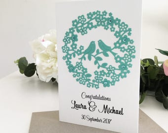 Wedding Congratulations Card, Personalised Gift, Unique Wedding Gift for Couples, Newlywed Gift, Colour Mint, Love Birds, Floral, Handmade