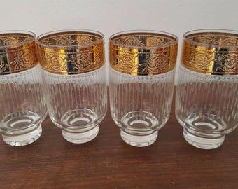 Elegant Large Gold Rimmed Glasses - Set of 4
