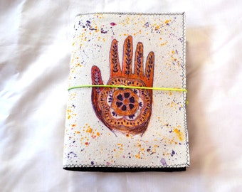 Painted Canvas Journal.  Removable Cover. Hamsa Art