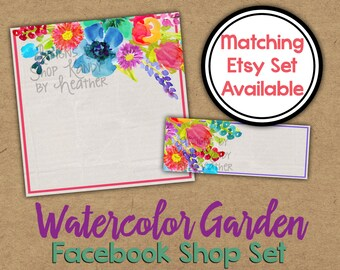 Watercolor  Facebook Timeline Set - Watercolor Shop Banner - Rainbow Watercolor Timeline Cover - Profile Image - Painted Facebook Shop Set