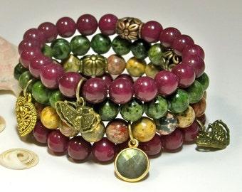 Boho Stack Bracelets, Yoga Stacking Bracelets, Set of 4 Bracelets, Gift For Her Bracelets, Gemstone Stackable Bracelets, #16 FREE SHIPPING