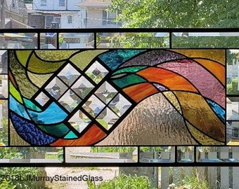 BEVELS in  the WIND** Stained Glass Window Panel (Signed and Dated) ©2002-2018LJMurrayStainedGlass