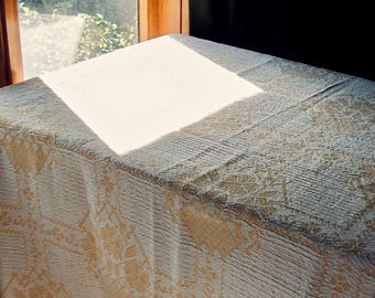 Vintage Cotton Jacquard Blanket, Vintage Yellow Bedspread, Vintage Yellow Tablecloth, Cotton Throw, Lightweight Blanket, Vintage Coverlet