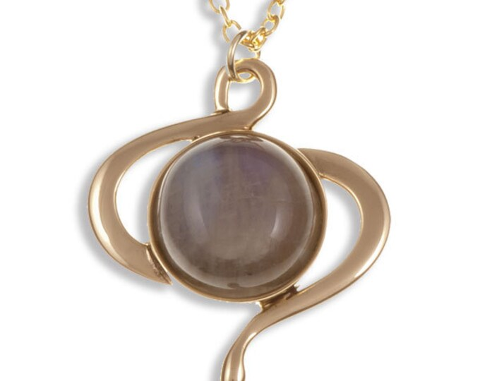 Moonstone swirl pendant – bronze -Hand Made in UK