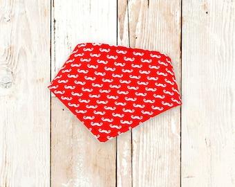 Mini Red Moustaches Bandana Bib     bibdana, baby shower gift, drool bib, dribble bib, drool bandana, special needs bib, bibdanna