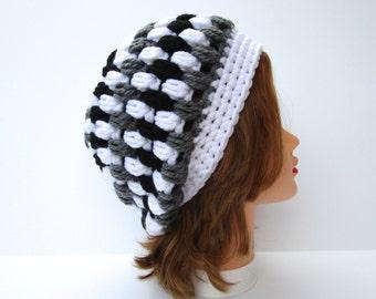 Crochet Beanie Hat, Slouchy Beanie, Crochet Hat, Women's Hat, Chunky Hat, White Gray Black Hat, Women's Chunky Beanie, Winter Hats For Women