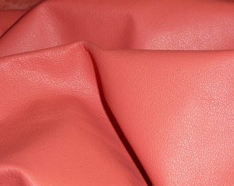 "Leather 8""x10"" PLONGE Salmon Garment / Purse Full grain Thin Cowhide 1.75oz/.7 mm PeggySueAlso™ E2843-05"