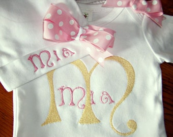 Newborn girls take home outfit, Personalized baby girl coming home  Outfit,   baby layette gown and Hospital Hat Set, first photo outfit