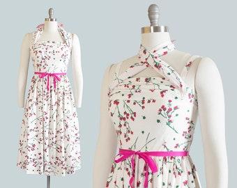 Vintage 1950s Dress | 50s Cherry Blossom Floral Cotton Sundress Criss Cross Halter White Pink Full Skirt Day Dress (small)