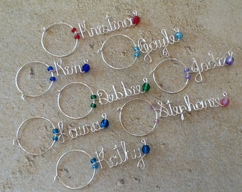 Xmas gift, Wine Charms, Personalized Wine Charms, Shower Gift, Wedding, Glass Wine Charm, Wedding Favors