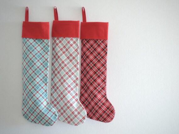 Plaid Christmas Stocking Plaid, Family Christmas Stockings, Modern Cuff Red Teal Winter White Plaid, Boy Girl Kids Children Pet, Little Cuff