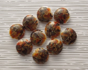 Fused Glass Mini Cabochons - Lampwork Beads - Fused Glass - Findings - Glass Beads - Stained Glass - Tortoise Shell  Beads 5278