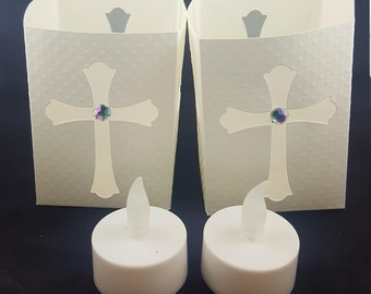 Religious Luminaries - Luminaries With LED Tea Lights -  Lanterns With LED Tea Lights