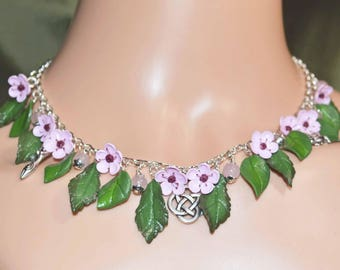 Divine Union Cherry Blossom Pagan Necklace - Pagan Jewellery Inspired by the Goddess and God, Wicca, Summer Flowers
