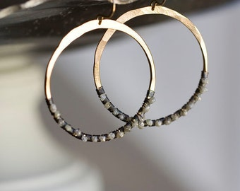 Rough Diamond Earrings, Raw Diamond Earrings, Diamond Hoops, Bohemian Wedding - Diamond in the Rough Hoops LIMITED EDITION