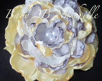Wedding Hairpiece, Lace Rose Hair Accessory, Handmade Lace Cabbage Rose with matching headband to match your tutu