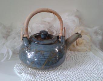 Vintage Clarke teapot with bamboo handle, blueish grey teapot with bamboo handle by Clarke, Canada pottery teapot, heavy handmade teapot