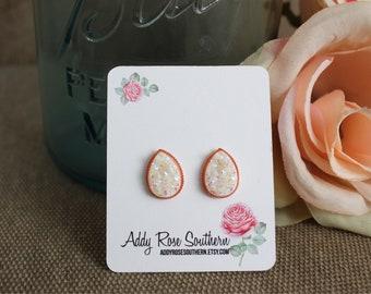Rose gold teardrop druzy earrings, rose gold druzy, druzy earrings, white druzy teardrop, druzy teardrop studs