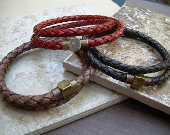 Men's Leather Bracelets, Leather Bacelets for Men, Men's Bracelets Leather, Braided Leather Bracelet,  Bronze Magnetic Clasp Bracelet