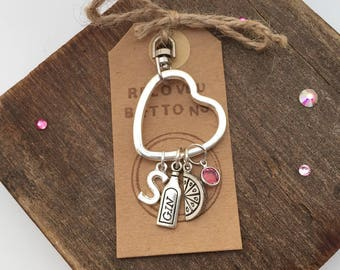 Gin keyring, personalised gift, personalised keyring, personalised keychain, gin and tonic, gin and tonic gift, birthstone gifts, gin lover,