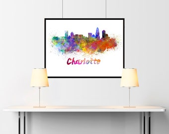 Charlotte skyline in watercolor over white background with name of city  - SKU 0178