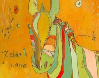 Zebra Mare Canvas Print by Jennifer Mercede 14X14