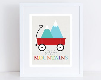 baby you'll move mountains little red wagon printed art quote saying colourful kids nursery art children baby boy print inspirational bright