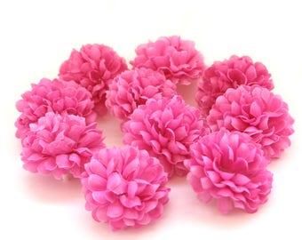 Violet Pink Pom Pom Carnations - 25 count - Artificial Flowers, Silk Flowers