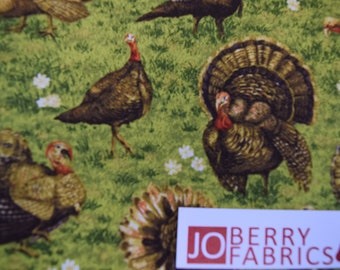 Turkeys from the Golden Harvest Collection by Fabri-Quilt.  Quilt or Craft Fabric. Fabric by the Yard.