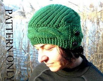 Instant Download Knit hat pattern- Digital Hat Knitting PATTERN PDF - Cable Knit hat Pattern - Cloche Hat Knit Pattern winter knitting