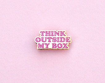 Enamel pin Think Outside My Box Feminism Planned Parenthood Gold Pink glitter
