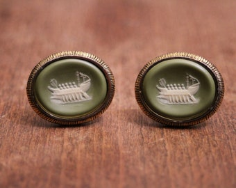 "Vintage Dante - Green ""Phoenician Galley"" Incolay Cufflinks"
