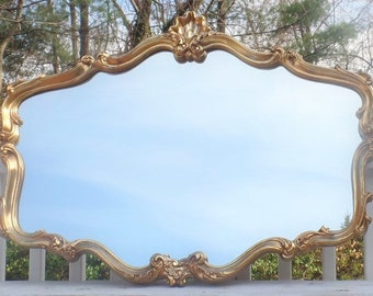 Gorgeous LARGE Gold French Provincial Mirror- Very Ornate, Perfect for Mantel or over Couch!