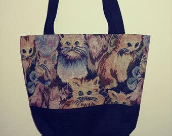 Cats Totebag-totally upholstery fabric (two-tone)